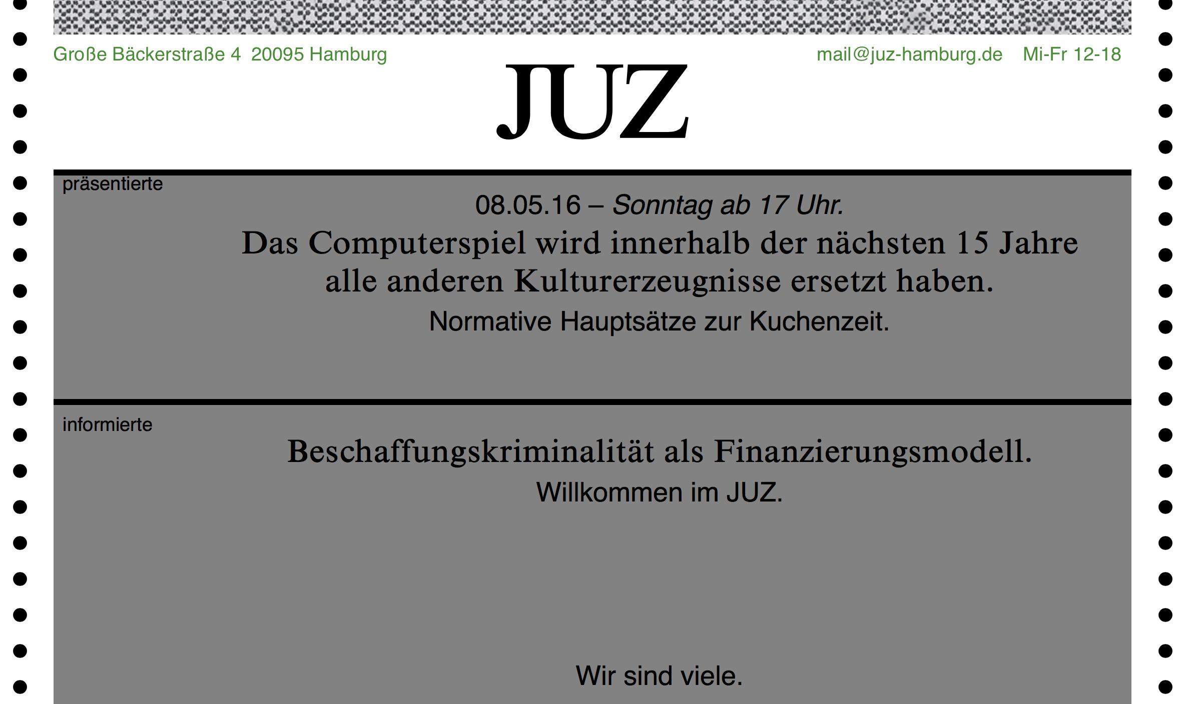 Webseite des JUZ, Detail aus Programmvorschau, Stand 21.08.2016